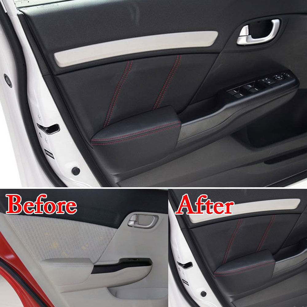 Car Styling 8Pcs PU Door Panel Armrest Surface Shell Cover Trim Protect Anti-collision Car Covers For Honda 9th Civic 2012-2014 цены