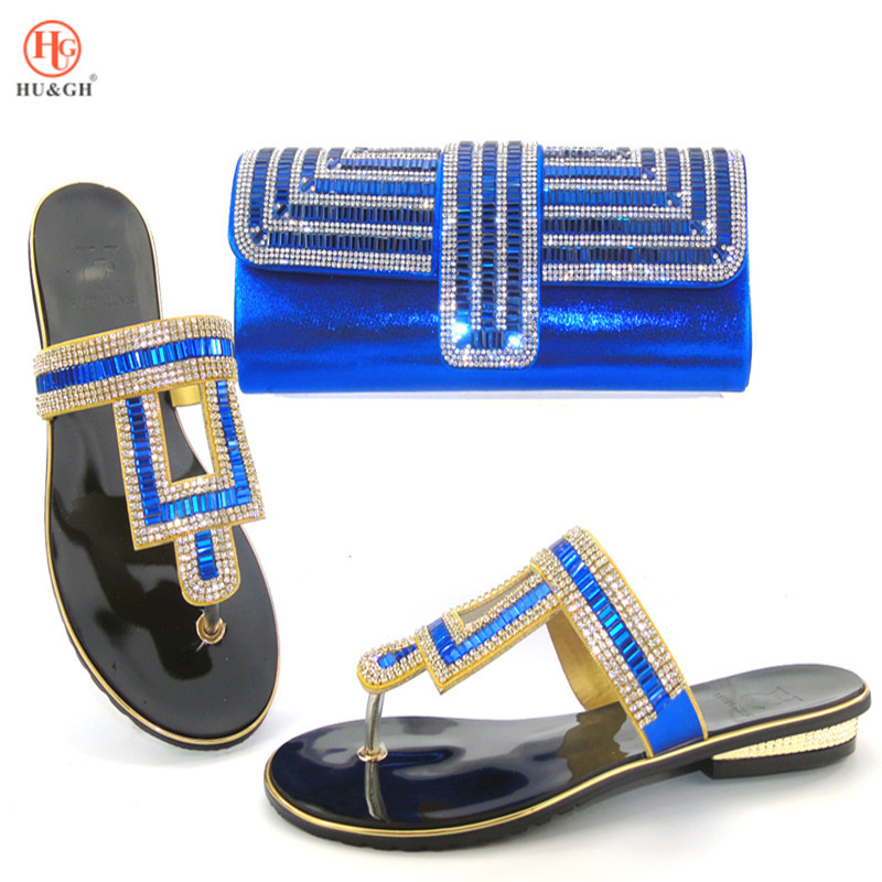 2018 New Blue African Ladies Shoes and Bag Sets Wedding Shoes and Bag Low Heels Matching