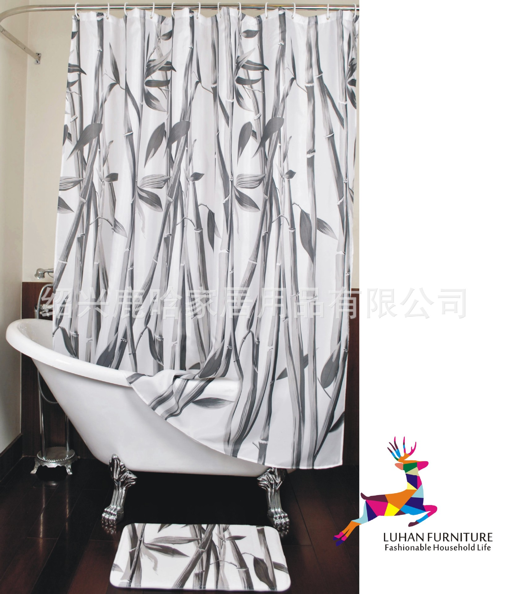 Cheap grey curtains - 180x180cm Black Grey Bamboo Shower Curtain Plant Shower Curtain Special Style Free Shipping China