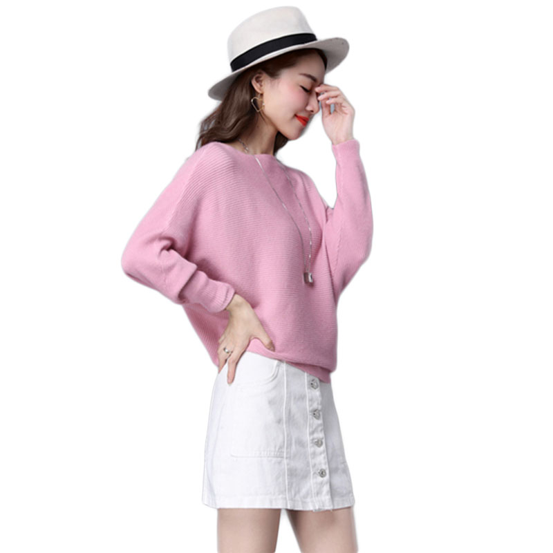 Batwing Sleeve Loose Autumn Women Pullover Sweater Yellow Knit Fashion Female Pull New Arrival Striped Pullovers And Sweaters #4