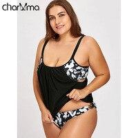 CHARMMA Floral Print Plus Size Swimsuit Women 2 Pieces Suits Tankini Swimwear Spaghetti Straps Bathing Suit