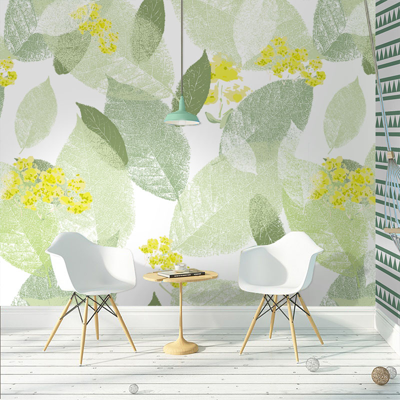 Tuya Art Light Green Leaf Wallpaper For Living Room