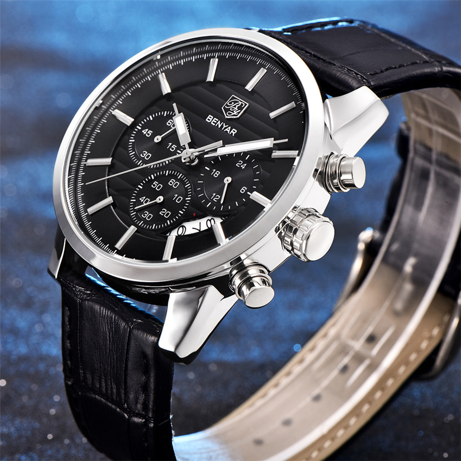 BENYAR Watch Men Waterproof Chronograph Business Dress Mans Watches Date Quartz Wristwatches Male Hour relogio masculino 2017 (3)