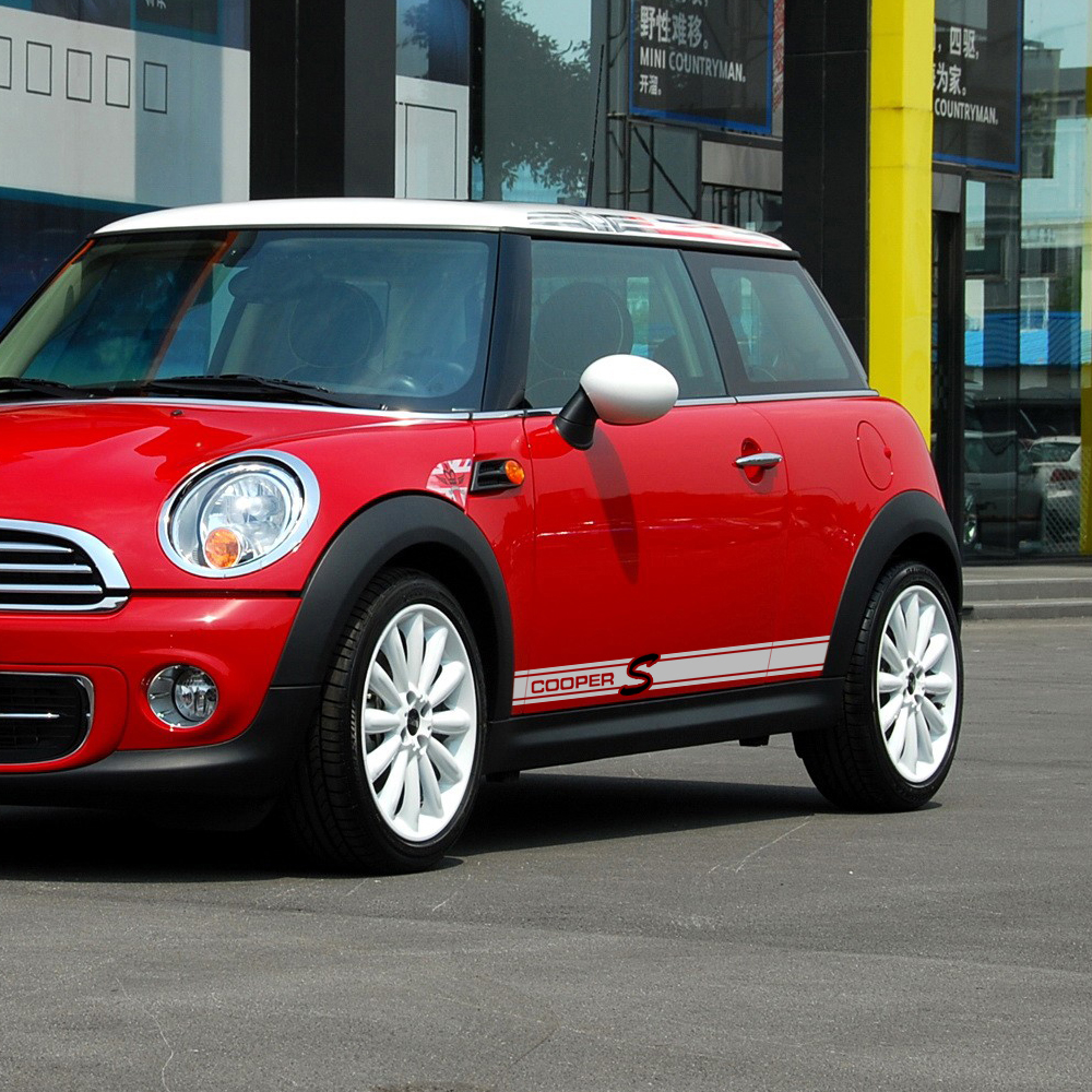 Pair of Car Styling Door Side Stripe Skirt Decal Stickers for MINI Cooper S R50 R52 R53 R56 R57 F56 R60 Accessories