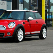 Pair of Car Styling Door Side Stripe Skirt Decal Stickers for MINI Cooper S R50 R52 R53 R56 R57 F56 R60 Accessories 2pcs set door rear view mirrors cover case sticker decal car styling for mini cooper one s r50 r52 r53 2002 2006 accessories