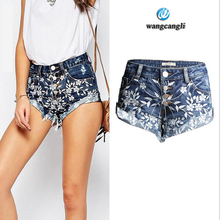 Vacation summer new heavy industry womens jeans skinny with embroidery wear denim shorts female tassels curling wide leg pants