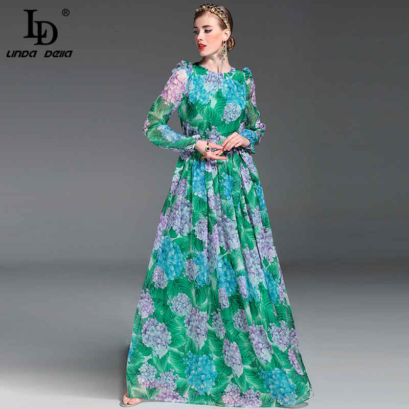 Buy Cheap High Quality 2017 Summer Runway Maxi Dress Women's Long Sleeve Floor Length Boho Beach Party Floral Printed Casual Long Dress