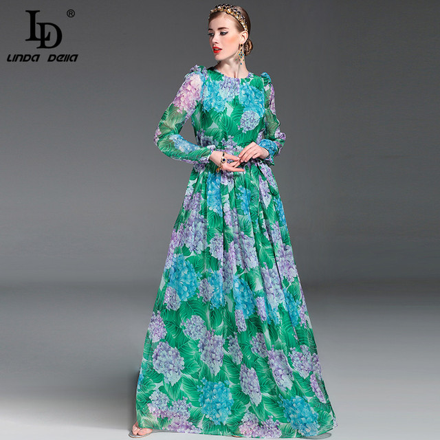 Hoge kwaliteit 2017 zomer runway maxi dress vrouwen lange mouw floor lengte boho beach party bloemen gedrukt casual lange dress