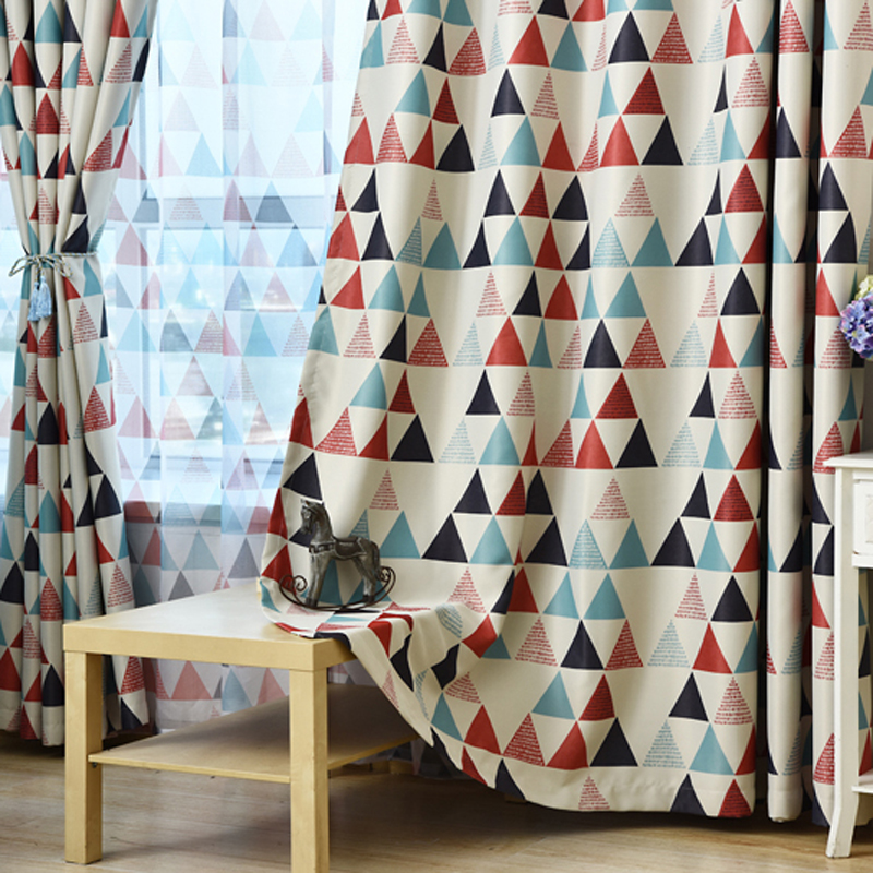 Modern Green Red Triangle Printed New Home Decorative Curtains Window Curtain For Bedroom Window Blind Wp211c Window Treatments