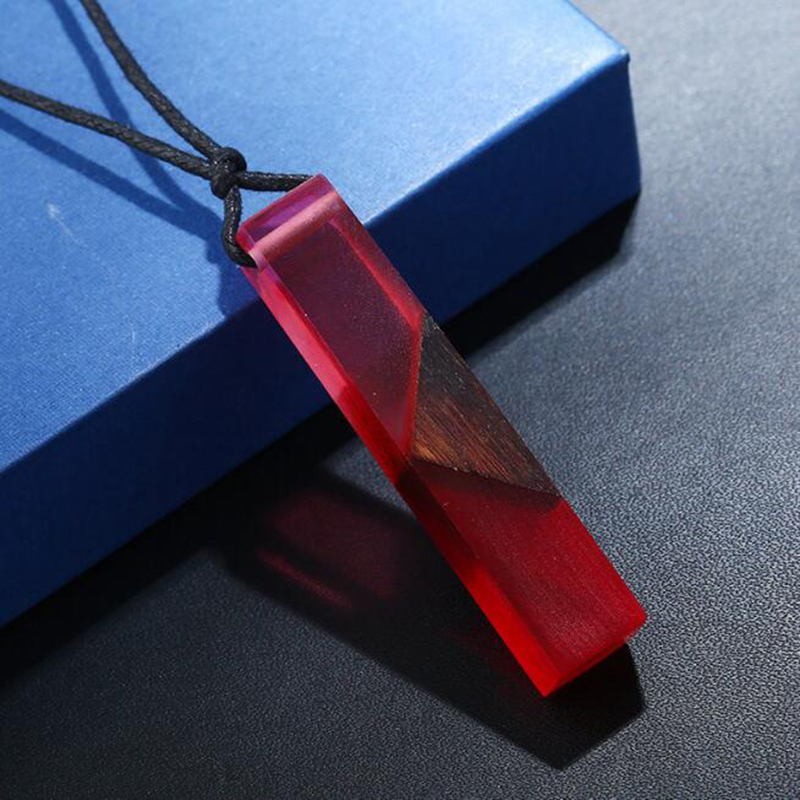 Geometric Square Wooden Resin Necklace Korean Dream Ocean Pendant Necklaces Collar For Women Mens Colorful Charm Jewelry Gift