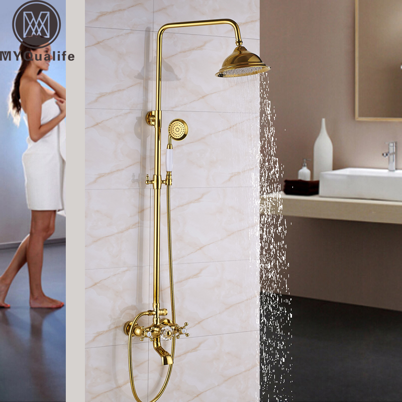 Golden Bath Shower Mixer Faucet Set Dual Handle 8 Rainfall Shower Head Swivel Watering Spout Shower Taps