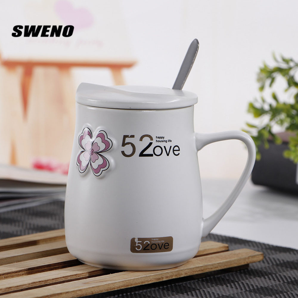 SWENO The New Paragraph Four-leaf Creative Ceramic Mug With Belt Lid And Spoon Simple Cute Cup Girlfriend Friends Gift