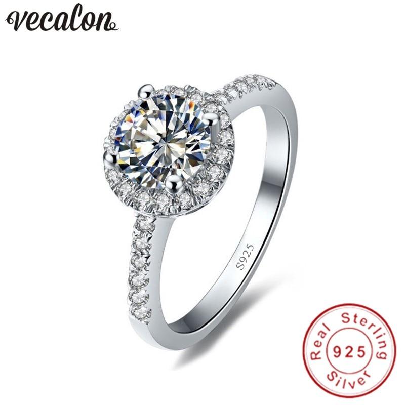 Vecalon Réel 925 Sterling Argent Infinity anneau 5A Zircon Cz Diamon Engagement wedding Band anneaux pour les femmes de Demoiselle D'honneur Cadeau
