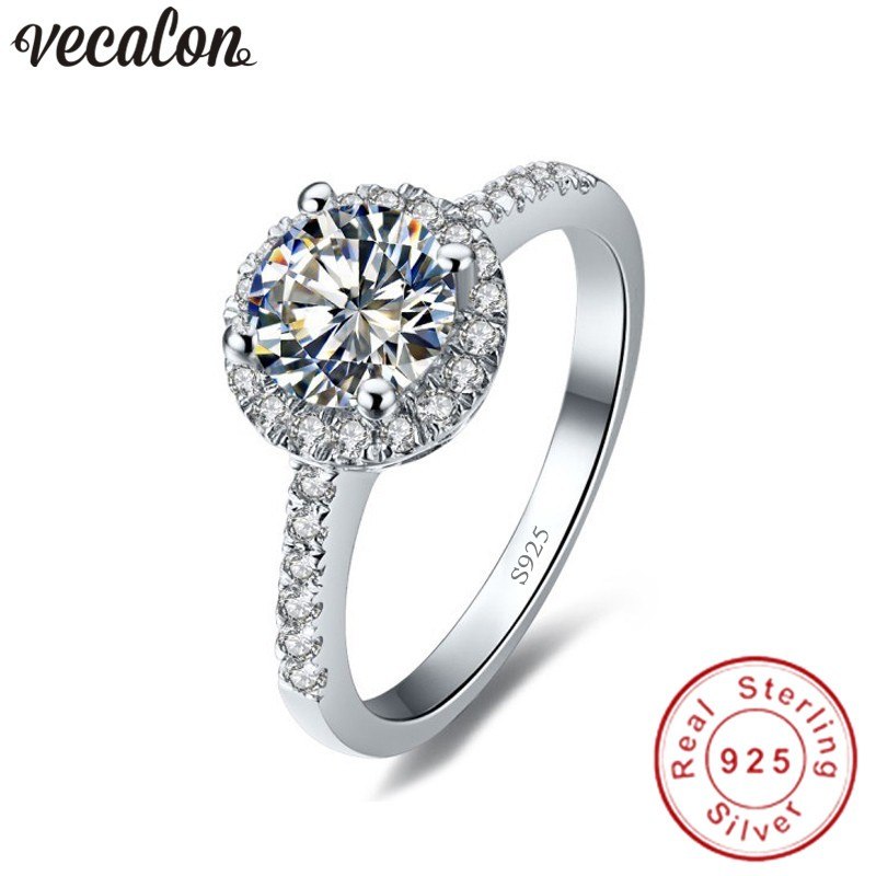 Vecalon Real 925 Sterling Silver Infinity ring 5A Zircon Cz Diamon Engagement wedding Band rings for women Bridesmaid Gift vecalon heart shape jewelry 925 sterling silver ring 5a zircon cz diamont engagement wedding band rings for women bridal gift