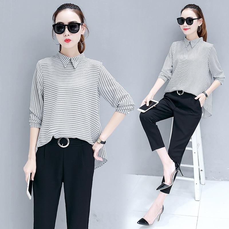 Women Stripe T Shirt Black Pants Outfit Autumn Chiffon Korean Fashion Two-Piece Clothing Set New OL Casual Suite Size S-XXL