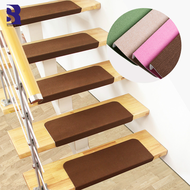 Sunnyrain 13 Piece Free Installation Stair Mat Self Adhesive Stair | Installing Carpet Stair Treads | Anti Slip | Bullnose Carpet | Stair Risers | Indoor Stair | Wooden Stairs