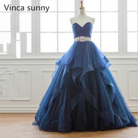 Elegant Blue Ball Gown Evening Dresses Beading Tulle 2017 Real Photo Sweetheart Prom Party Gowns Long