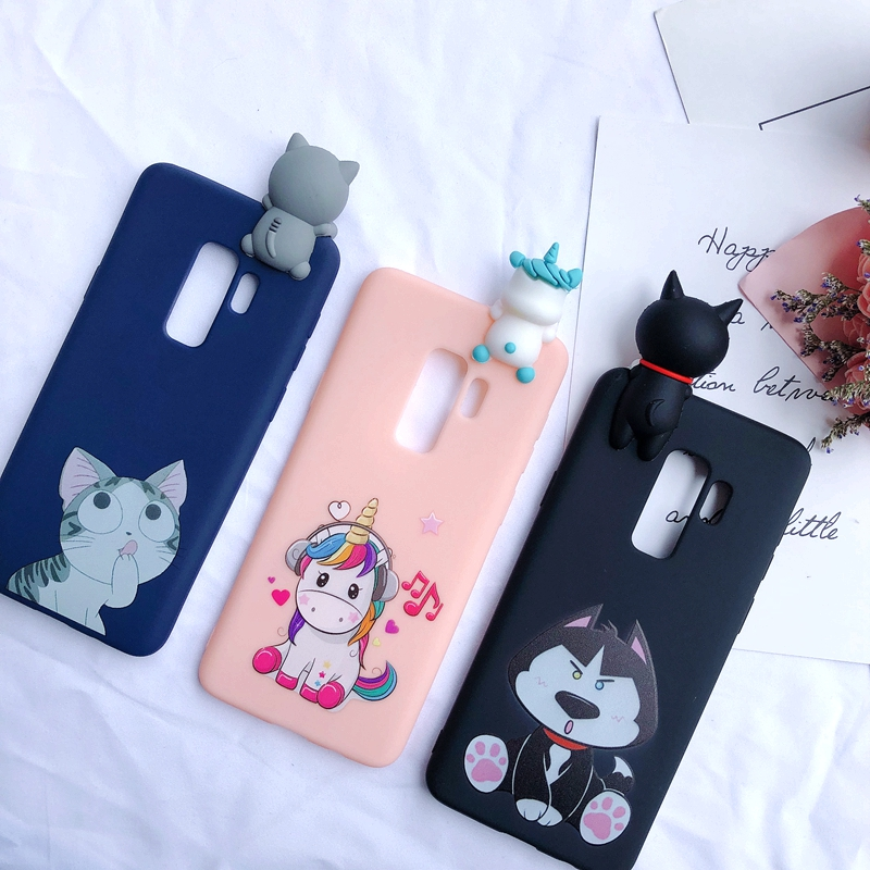 A6 A7 A8 A9 2018 3D Case for etui Samsung A7 A9 2018 Case Kawaii Unicorn Silicone Cover for Samsung Galaxy A6 A8 Plus Phone Case