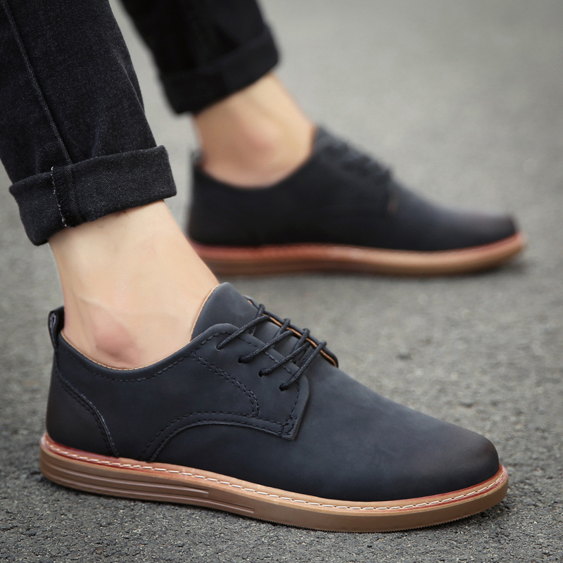 Shoes Chaussure Formal-Footwear Oxfords Business Comfortable Black Men Male Lace-Up Flats