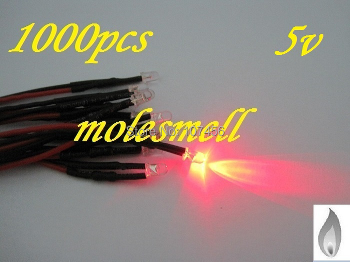 Free Shipping 1000pcs 3mm Red Flicker 5V Pre-Wired Water Clear LED Leds Candle Light 20CM