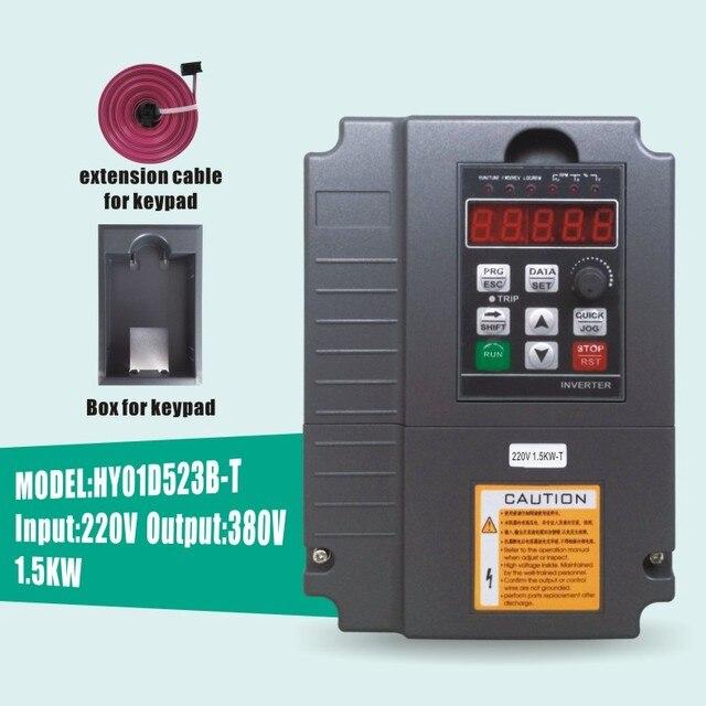Onduleur 220 v à 380 v 1.5kw 50Hz extension câble et boîte huanyang usine vente directe livraison gratuite