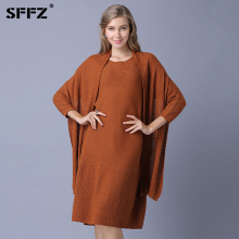 SFFZ 2018 New Wool Blend Women Sweater Pullovers with Scarf Long Sleeve Pullover Jumper Woman Elegant Wool Knitted Dress