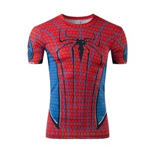 Superhero spider-man tight clothes Men's news fitness compression lycra round collar short sleeve T-shirt free shipping