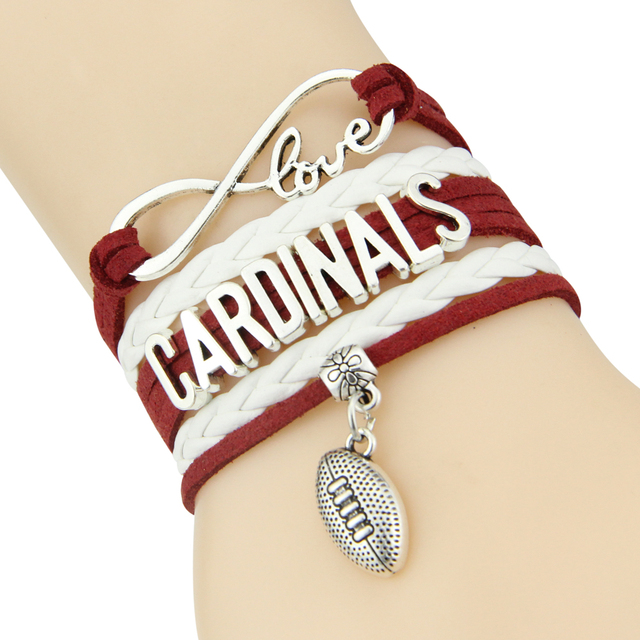 Infinity Love Cardinals Bracelet Baseball Bat Charm Leather Wrap Men Bangles For Women