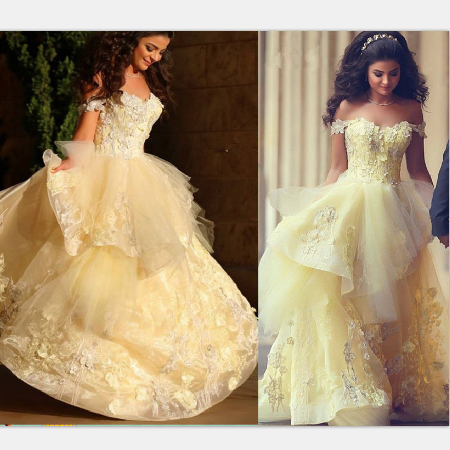 Yellow Gold Ball Gown Prom Dresses
