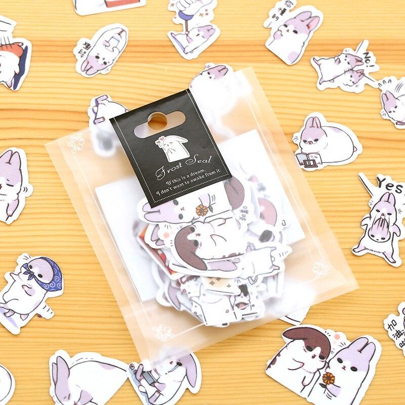 40pcs/lot DIY Cute Kawaii PET Sticker Lovely Cartoon Rabbit Stickers For Home Decoration Diary Student 977