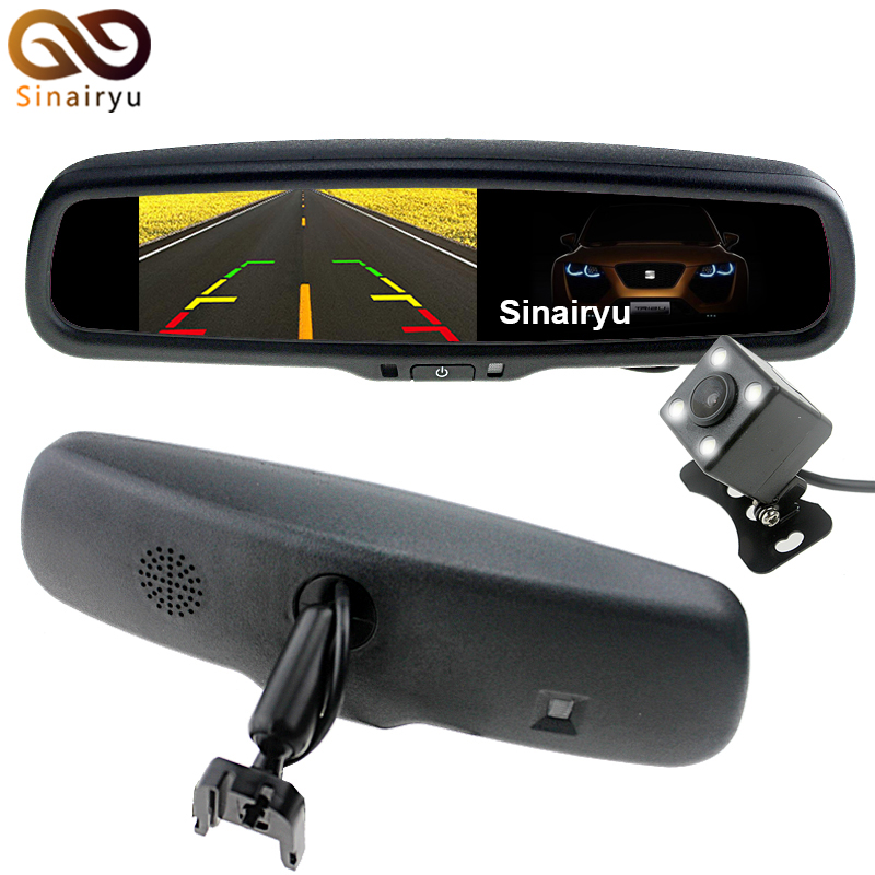 Vehicle 4.3 Inch HD Auto Dimming Original Bracket TFT LCD Car Parking Rear View Rearview Mirror Monitor Video Player 2 CH Input auto 9inch touch button led for tft lcd hd 800x480 mp5 usb sd fm car rear view monitor mirror dec20