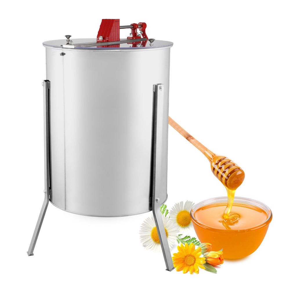 Four 4/8 Frame Stainless Steel Honey Extractor  Stainless Steel Manual With Cover