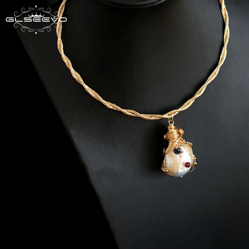 GLSEEVO Handmade Natural Fresh Water Baroque Pearl Pendant & Necklace For Women Engagement Fine Jewellery Collar Mujer GN0080