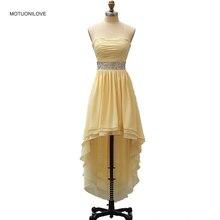 Strapless High Low Graduation Dress Short Front Long Back Crystals Sash Prom Dresses Girl Evening Formal Vestido de Festa