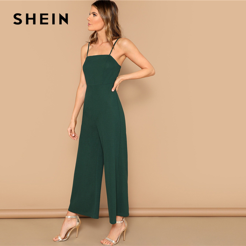 SHEIN Green Solid Wide Leg Cami Jumpsuit Women Mid Waist Full Length Spaghetti Strap Skinny Summer High Street Sexy Jumpsuits 2