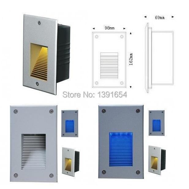 Luz ahuecada pared al aire libre de AC85-265V 3W IP65 LED, luz 6PCS / lot DHL Freeshipping del paso de la luz DC24V LED de la escalera del LED