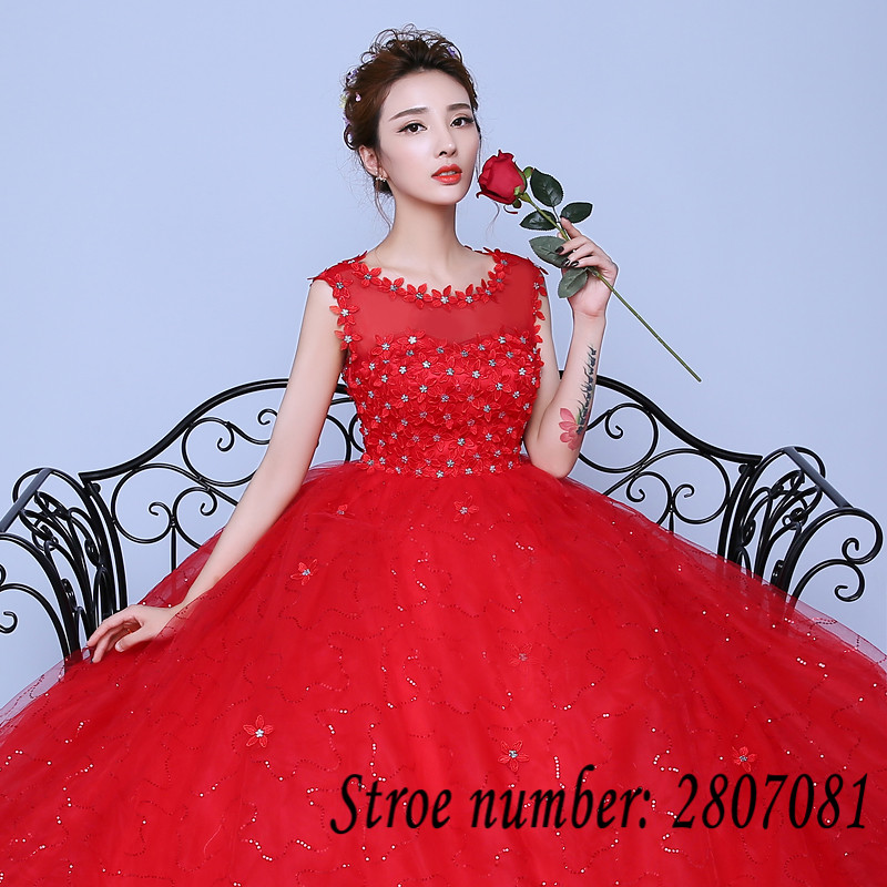 Custom Made O neck Flowers Wedding Dresses Pregnancy Red White Cheap ...