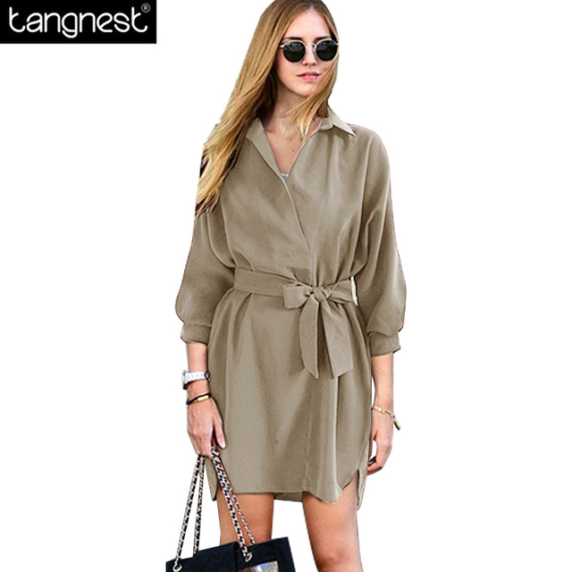 TANGNEST Casual Solid Belt Trench Dress 2017 Spring Woman Fashion Three Quarter Sleeve Tops Plus Size Loose Pullover WWF761
