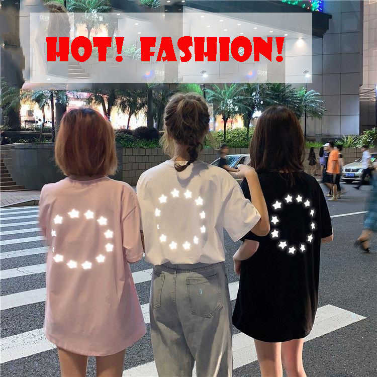 19s Hot Reflective Star Print harajuku shirt women fashion Pink Tee Oversize Girlfriend t shirt short-sleeved shirts streetwear
