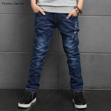 New Fashion Children Jeans youngsters Comfortable Cotton Light Wash Dark Blue Straight Long Pants for youths boy 4T 6T 8T 10T 12T 14T