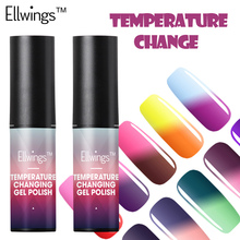 Ellwings New arrival Temperature Color Changing Gel Soak off LED/UV Chameleon Gel Polish Lacquer Thermo Nail Polish