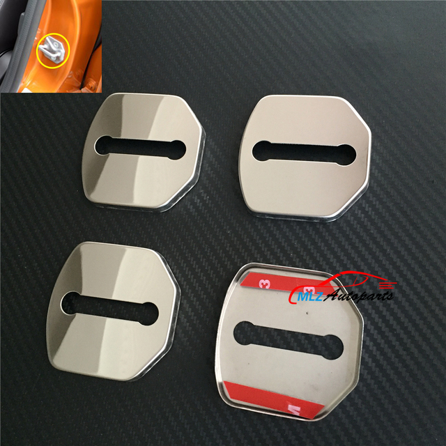 Car Door Lock Buckle Protective Cover Caps Case Trim Stainless Steel
