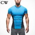 2017  CW men  stretch T-shirt short sleeve v-neck compression garment brand  short sleeve T-shirt garment