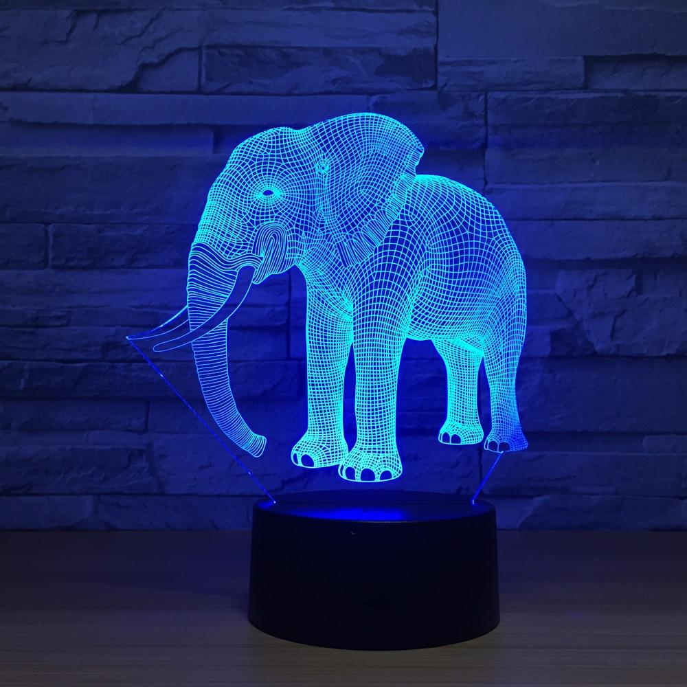 Geburtstag Geschenk Nacht Lichter Elfenbein Elefanten 8D LED Nacht ...