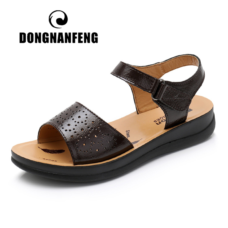 DONGNANFENG Women Female Mother Ladies Shoes Sandals Soft Cow Genuine Leather Summer Beach Outdoor Hollow Size 35 41 SP 278 1 in Low Heels from Shoes