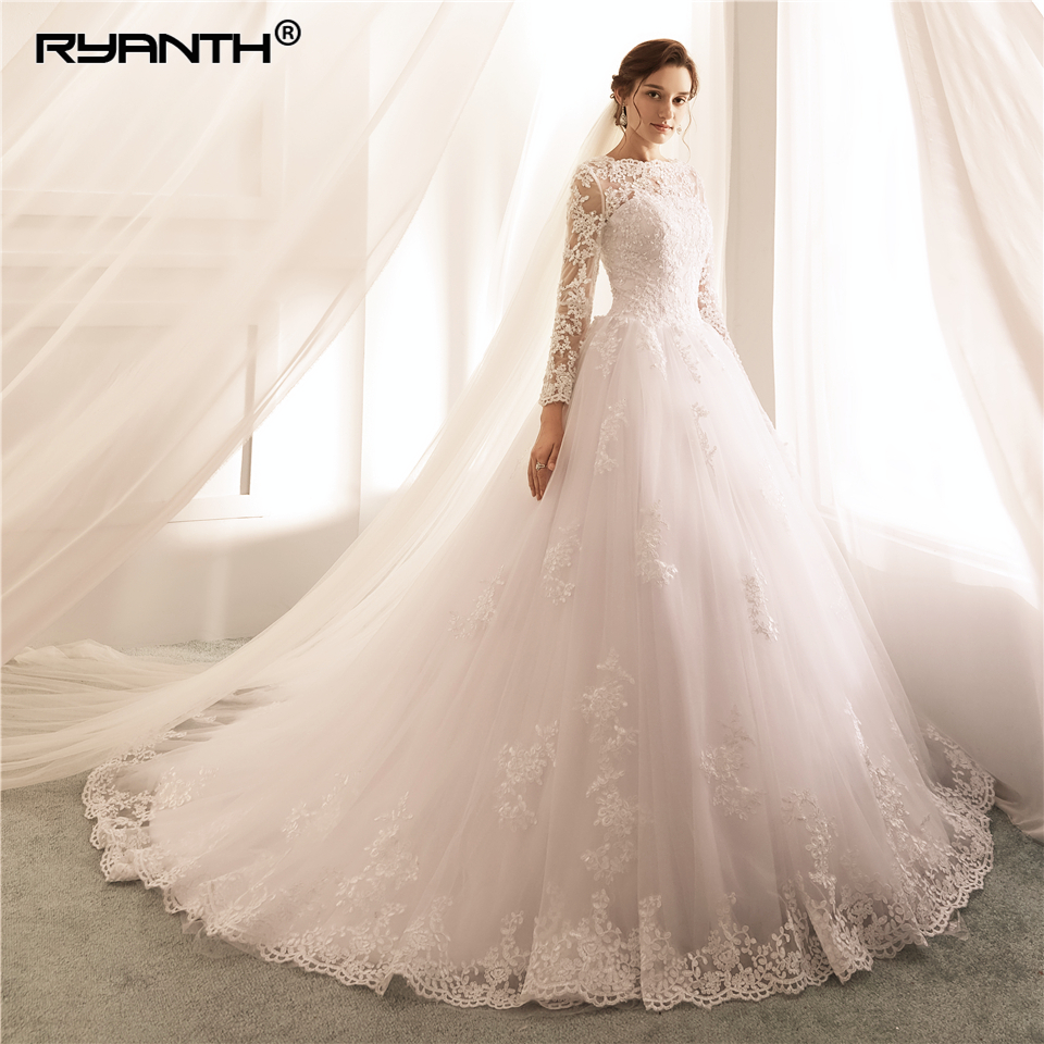 Long Sleeves Wedding Dresses 2019 Lace A Line Wedding Gowns Sexy Sheer New Arrival Bride Dress