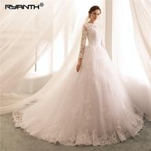 Long Sleeves Wedding Dresses 2019 Lace A Line Gowns Sexy Sheer New Arrival Bride Dress Robe De Mariee Vestido de Noiva