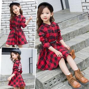 Image 3 - Elegant Girls Casual Long Sleeve Plaid Shirt Dress With Belt Fashion Teenager Blouse Dresses 4 5 6 7 8 9 10 11 12 13 Years Old