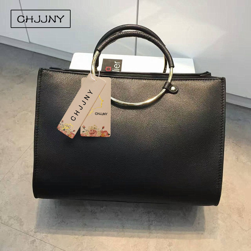 CHJJNY 2017 newest fashion simple style genuine cow leather women vintage metal handle bag with metal ring strap belt colorful pu leather strap for bag accessories handle with metal clasp for diy purse 10pcs lot