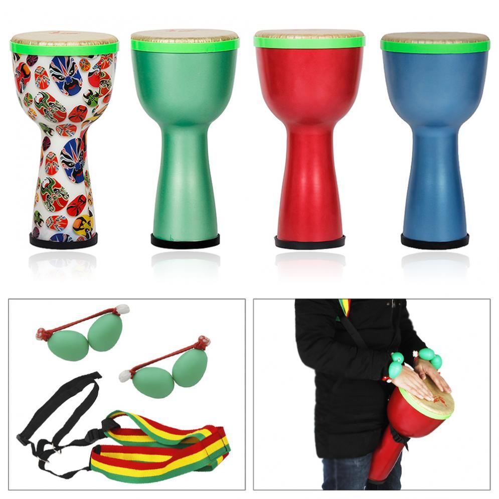 Tambour africain de djembé de conception légère matérielle d'abs de tambour de 8 pouces avec des oeufs de secoueur et la courroie d'épaule